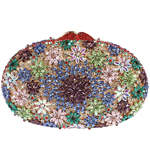 Digabi Luxury Colorful Flowers Pattern Oval shape women Crystal Evening Clutch Bags (One Size : 7.5 x 5 x 2.5 IN, Purple crystal) by Digabi
