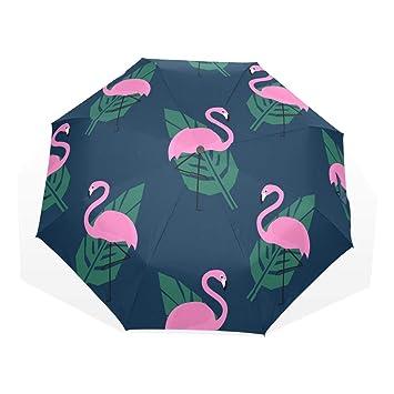 EZIOLY Paraguas de viaje con flamencos rosas tropicales y hojas de palma verde, ligero,