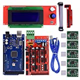 BIQU Mega2560 Control Board + LCD 2004 Graphic Smart Display Controller Module + Ramps 1.4 Mega Shield+A4988 Stepstick Stepper Motor Driver with Heat Sink for 3D Printer Arduino Reprap