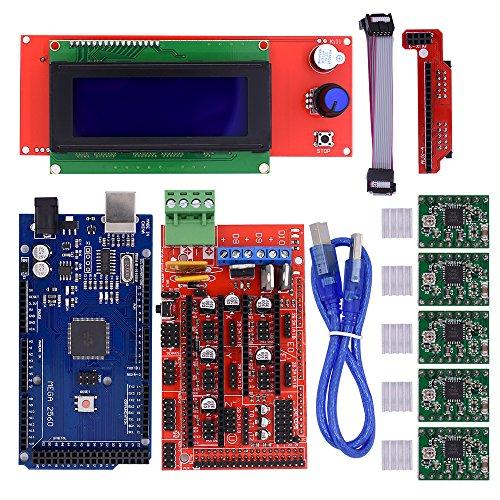 BIQU Mega2560 Control Board + LCD 2004 Graphic Smart Display Controller Module + Ramps 1.4 Mega Shield+A4988 Stepstick Stepper Motor Driver with Heat Sink for 3D Printer Arduino Reprap