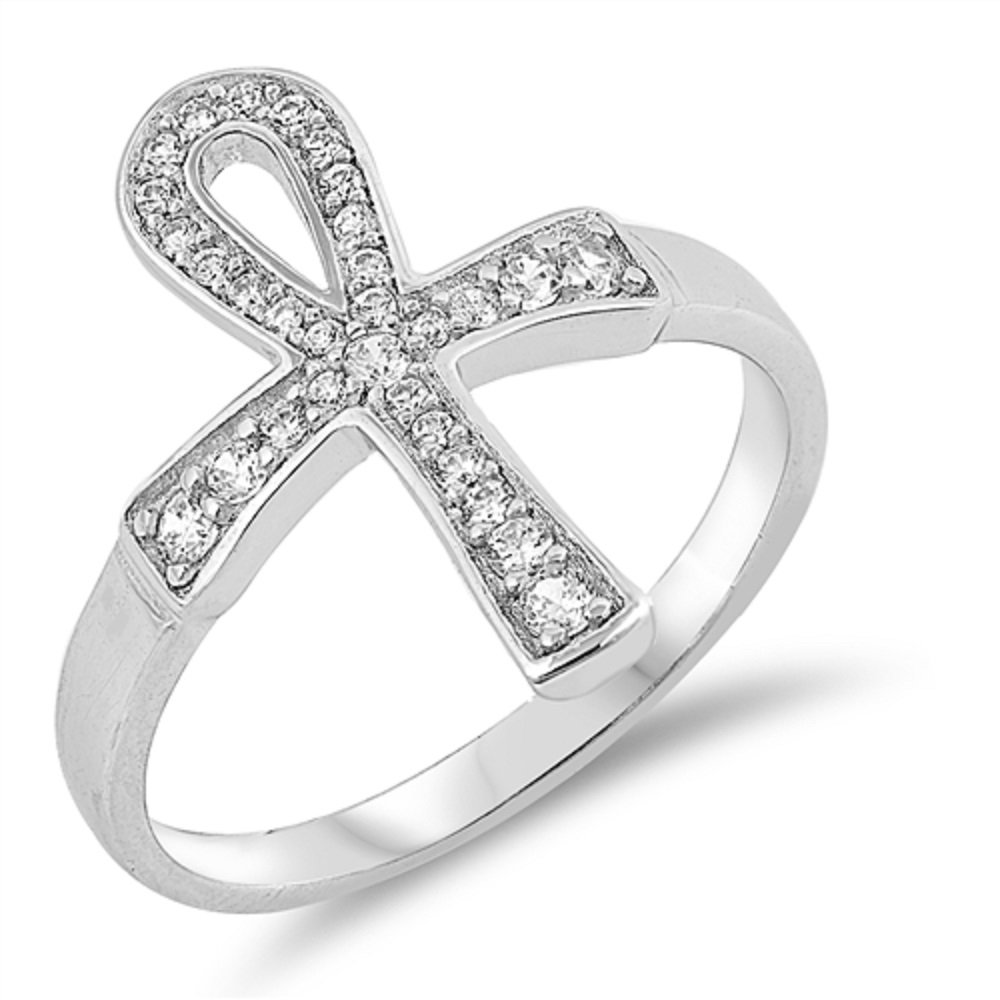 CloseoutWarehouse Clear Cubic Zirconia Egyption Cross Ring Sterling Silver