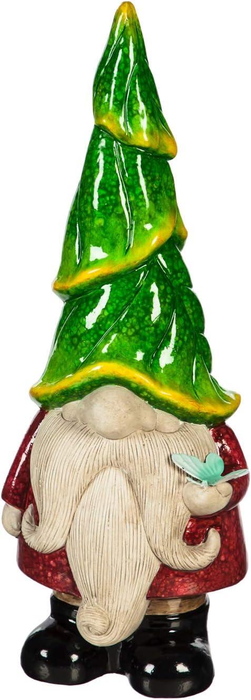 """Evergreen Garden 13"""" H Ceramic Gnome Garden Statuary, Green Outdoor Décor for Your Lawn and Garden"""