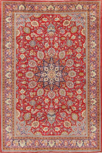 Rug Source One-of-A-Kind Viss Traditional Medallion Handmade 7x11 Red Wool Antique Persian Area Rug (10' 8