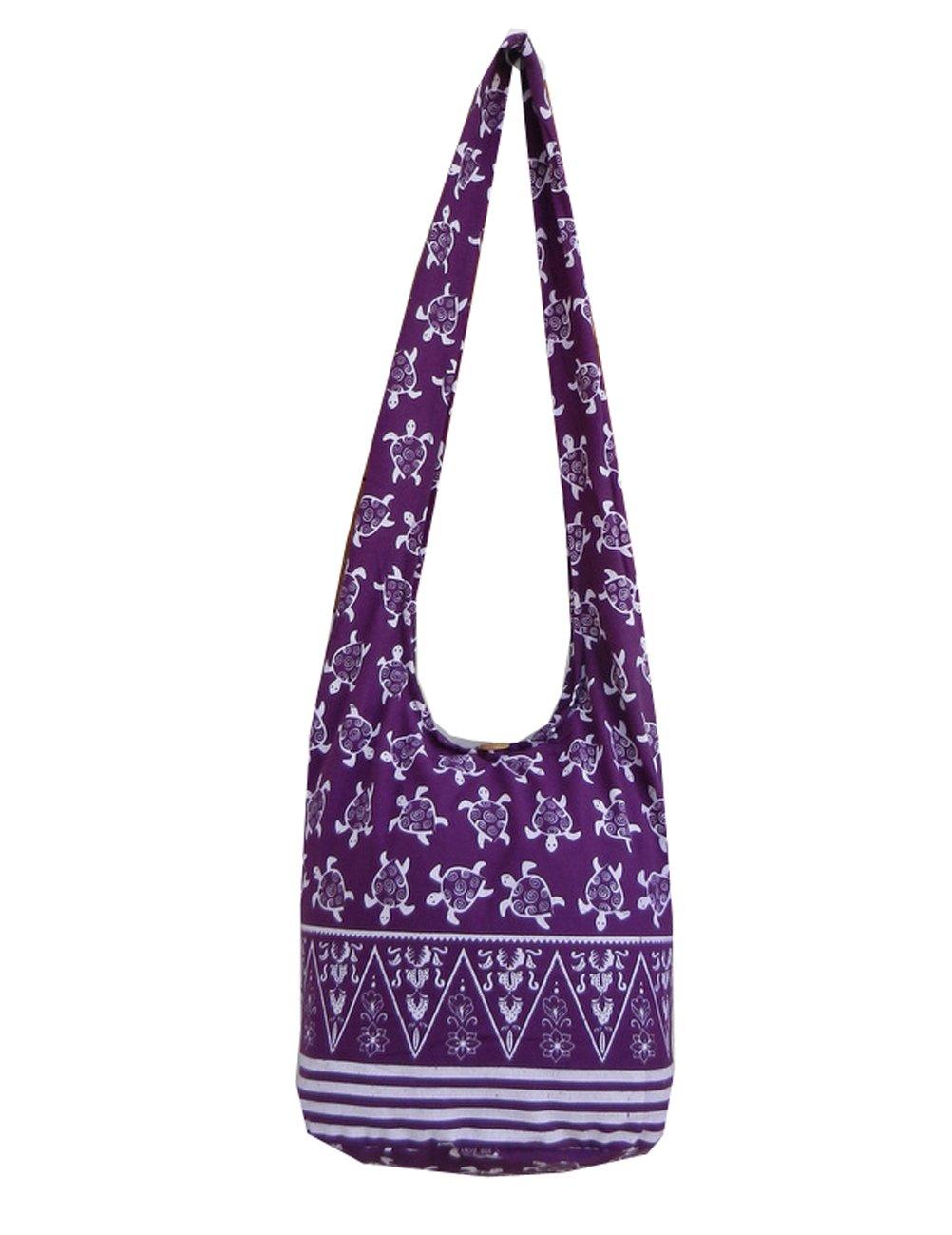 BTP! Turtle Sling Crossbody Shoulder Bag Purse Hippie Hobo Thai Cotton Gypsy Bohemian Large (Purple OW9)