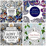 Kyпить 4 Adult and Art Project Coloring Books - Lost Ocean, Time Travel, Wonderland Exploration and Zen Mandalas-With Free Pack of Color Pencils на Amazon.com