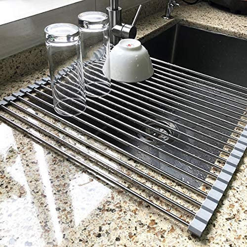 17.7″ x 15.5″ Large Dish Drying Rack, Attom Tech Home Roll Up Dish Racks Multipurpose Foldable Stainless Steel Over Sink Kitchen Drainer Rack for Cups Fruits Vegetables
