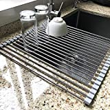 17.7'' x 15.5'' Large Dish Drying Rack, Attom Tech Home Roll Up Dish Racks Multipurpose Foldable Stainless Steel Over Sink Kitchen Drainer Rack for Cups Fruits Vegetables