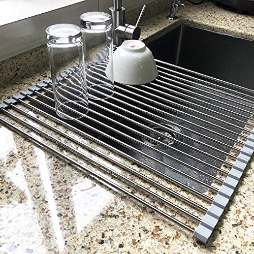 17.7″ x 15.5″ Large Dish Drying Rack, Attom Tech Home Roll Up Dish Racks Multipurpose Foldable Stainless Steel Over Sink Kitchen Drainer Rack for Cups Fruits Vegetables Price & Reviews