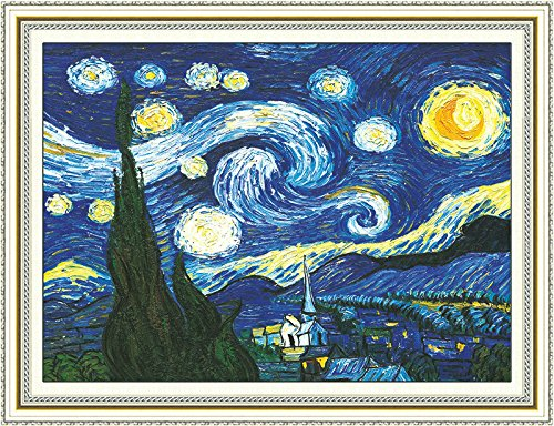 (Faraway Cross Stitch Kits, The Starry Night of Van Gogh, DIY Handmade Needlework Set Cross-Stitching Accurate Stamped Patterns Embroidery Frameless Beginners Kids)
