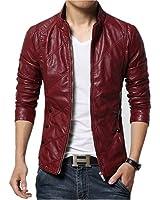 Escelar Men's Slim Fit Faux Leather Zipper Design Jacket EX27