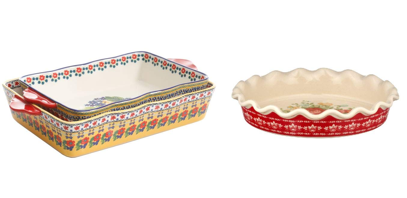 """The Pioneer Woman Fiona Floral 2-Piece Rectangular Bakers bundle with The Pioneer Woman Vintage Floral 9"""" Pie Plate"""