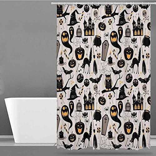 VIVIDX Polyester Shower Curtain,Vintage Halloween,Halloween Cartoon Jack o Lantern Tombstone Skulls and Bones,Shower stall Curtain,W55x84L Light Grey Multicolor