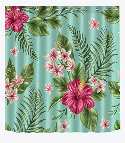 LB Hawaiian Tropical Leaf Flowers Decor Shower Curtain for Bathroom by, Hibiscus Plumeria Areca Palm Floral Theme, Mold Free Water Repellant Non Toxic Decor Curtain, 72 x 72 Inch