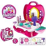 Pretend Makeup Set,IBanana 21Pcs Girls Kids Children Pretend Play Hair Dryer Makeup Toy Set Beauty Fashion Princess Cosmetic Suitcase Gift for Kids Girl Children(Pink)
