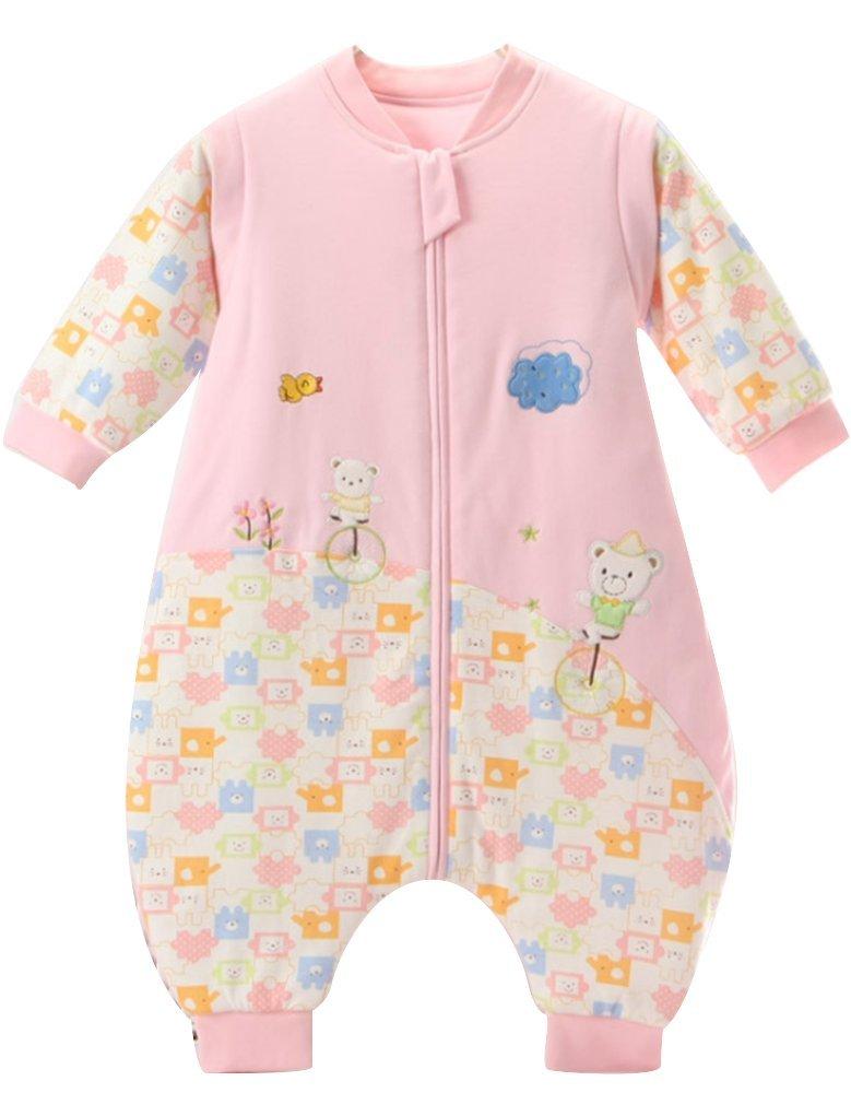 schlafsack baby Mädchen Rosa,ganzjahres Baumwolle Junge unisex Overall Schlafanzug.2.5tog. (12-36 Monate, Rosa) happy dream