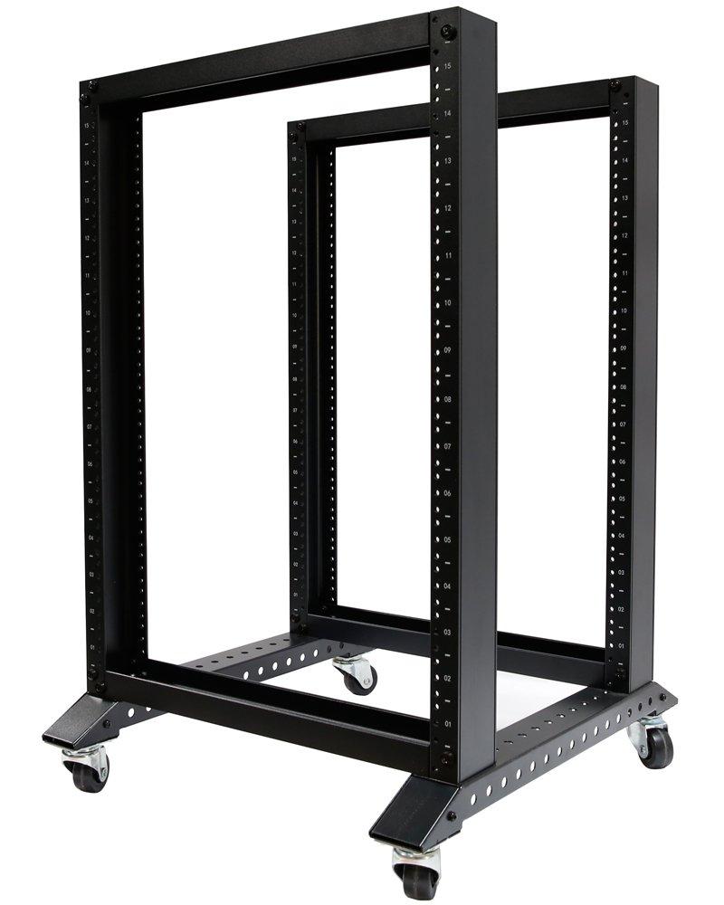 15U 4 Post Open Frame 19'' Server/Audio Steel Rack 16'' Deep