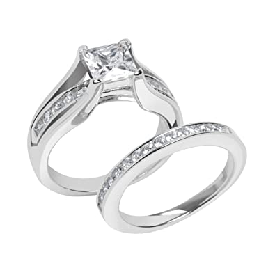 cz princess cut wedding ring set 5 sterling silver - Princess Cut Wedding Ring Set
