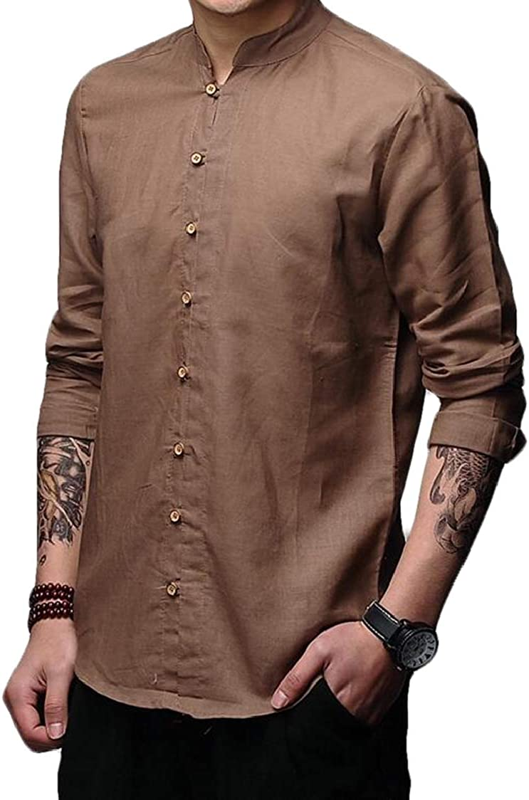 SELX Men Chinese Style Solid Mandarin Collar Long Sleeve Button Front Shirt