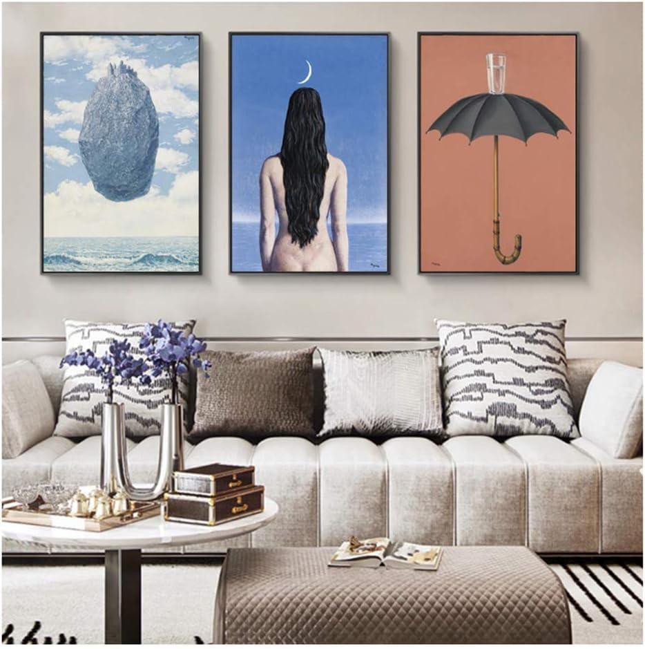 XuFan El Vestido de Noche Pinturas en Lienzo de René Magritte Famosos Cuadros de Arte Carteles de Arte para Sala de estar-50x75cmX3 Sin Marco