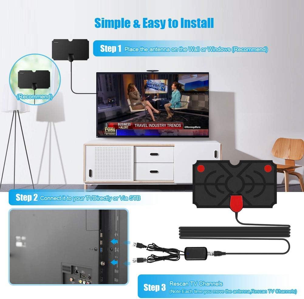 Antena Interior TV, Digital HDTV Antena con Amplificador de Señal, Antena TDT Antena de TV Rango Amplificado de 120 Millas