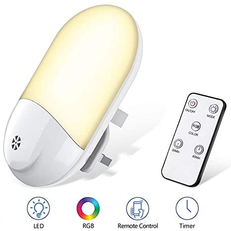 VISLAN Smart Remote RGB Night Light with Dusk to Dawn Photocell Sensor Bedroom LED Night Lights Plug in Wall Warm Light and 8 Color Switchable for Baby Room Timing Setting Kitchen Bathroom