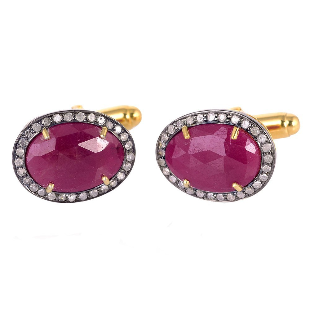 3.65 ct Ruby Pave Diamond 14 kt Gold Cufflinks 925 Sterling Silver Men's Jewelry