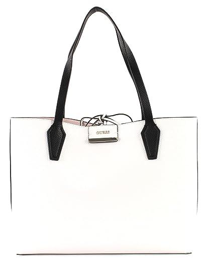 f3ea2f3acb8 GUESS Bobbi Inside Out Tote White Multi / Taupe: Amazon.co.uk: Shoes ...