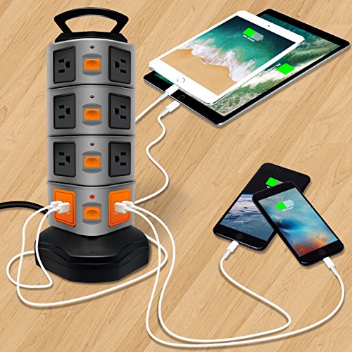 Power Strip Tower Lovin Product Surge Protector Electric Charging Station 14 Outlet Plugs with 4 USB