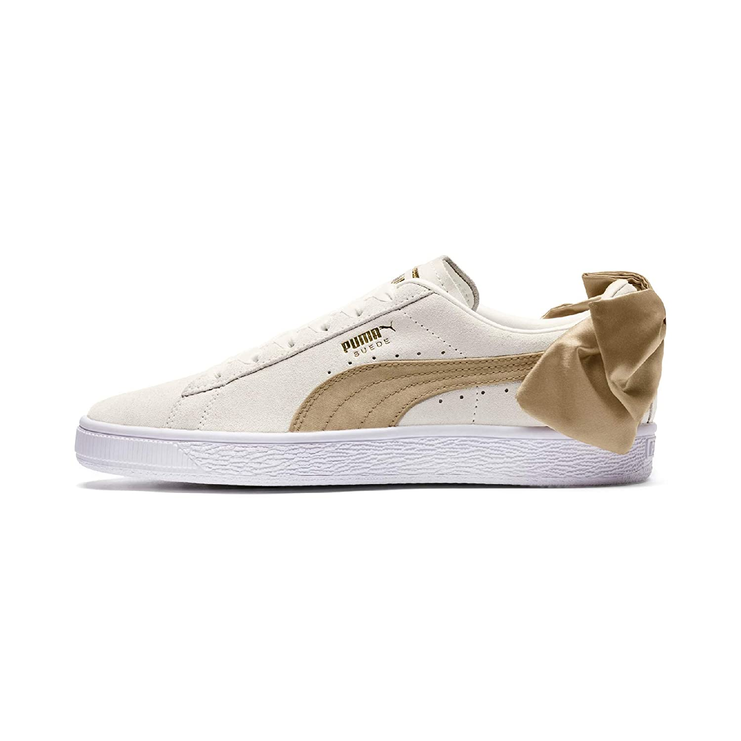 Puma Women's Off White Leather Rubber Suede Bow Varsity WN's