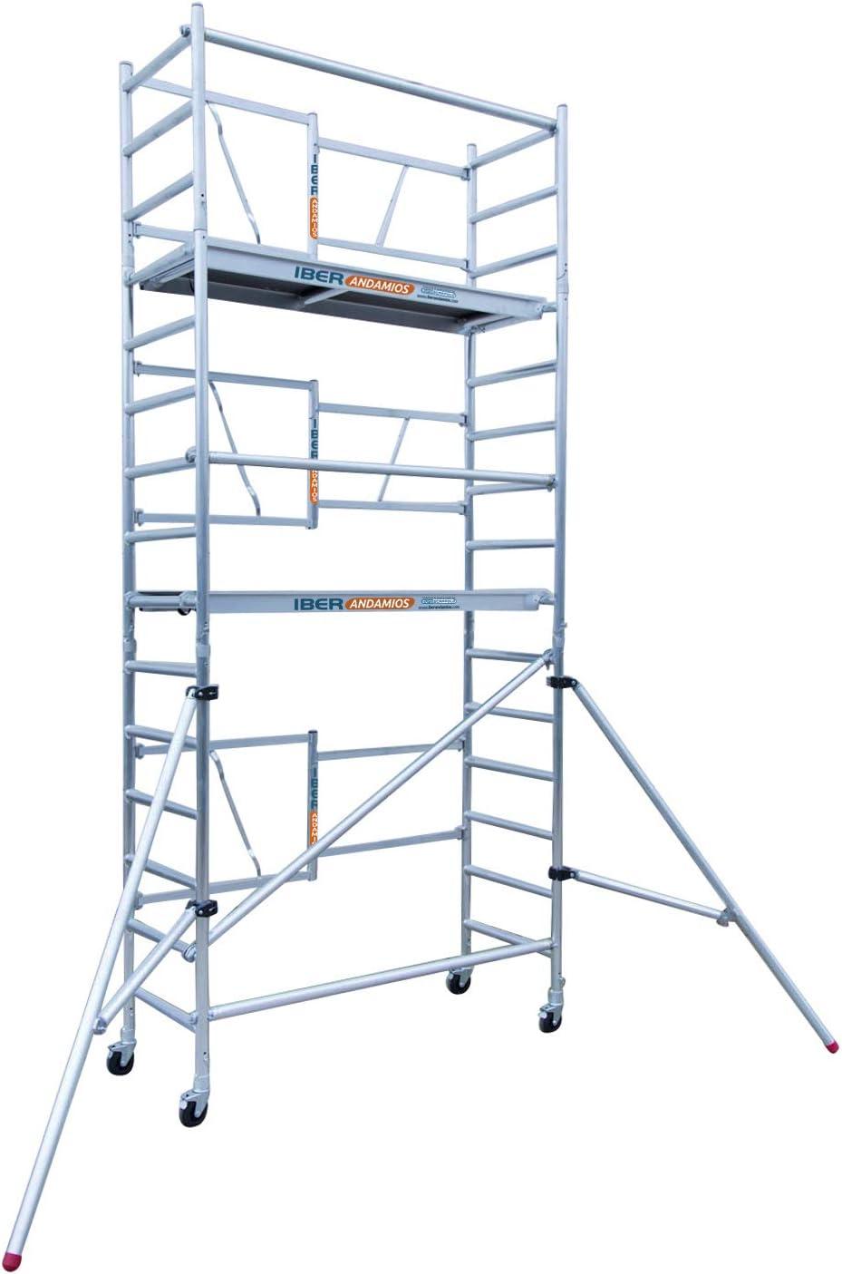 Andamio plegable en aluminio profesional IBERANDAMIOS altura de trabajo 5,70 m: Amazon.es: Bricolaje y herramientas