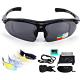 Polarized Sports Sunglasses, UV400 Protection Cycling Glasses with 5 Interchangeable Lenses for Men Women in Cycling, Fishing, Running, Driving, Golf, Baseball, Outdoor Activities