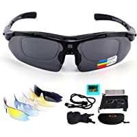 Polarized Sports Sunglasses with 5 Interchangeable Lenses for Men Women Cycling Glasses UV400 Lightweight in Cycling, Fishing, Running, Driving, Golf