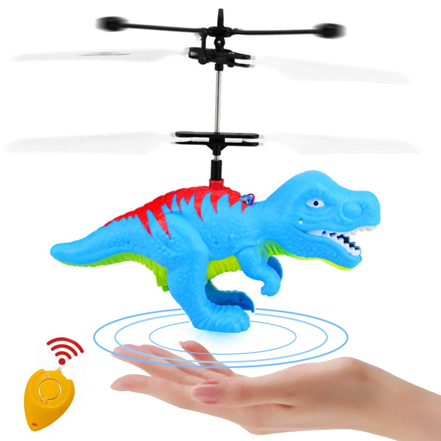 Funburg Flying Ball Dinosaur Toys,RC Drone LED Colorful Light Up Helicopter with Remote,Indoor Outdoor for 6 Year Old Kid,Infrared Induction Flying Toys Dinosaur Birthday Gifts for Boys Girls Kids by Funburg (Image #1)