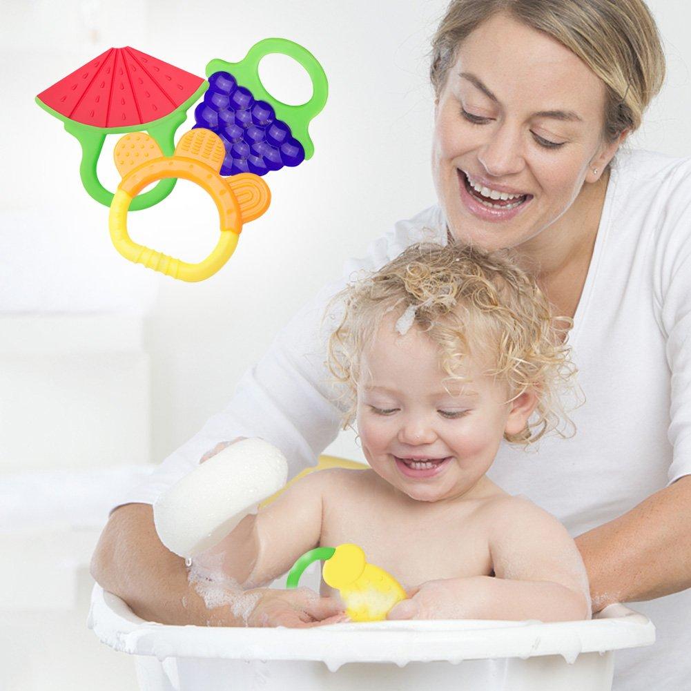 Amteker Massaggiagengive Refrigerante di Frutta, Bambini Dentizione Giocattolo, Baby Spazzolino da denti e Clip per Ciuccio da 3 a 12 Mesi Baby, Infant, Newborn