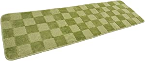 Kitchen Rugs and Mats Classic Check Plaid Farmhouse Non Slip Backing for Bathroom Bedroom 18''x59'' for Entryway Inside Indoor Long Green
