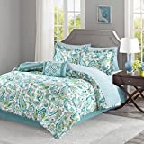 Madison Park Essentials Lila Full Size Bed Comforter Set Bed in A Bag - Aqua, Paisley – 9 Pieces Bedding Sets – Ultra Soft Microfiber with Cotton Sheets Bedroom Comforters