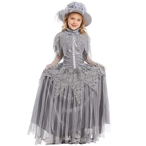 HONGBI Vestido Princesa Disfraz de Rapunzel para niña ...