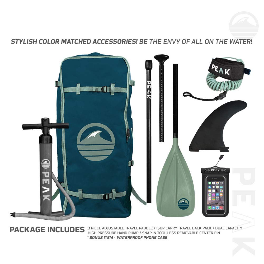 Peak All Around Inflatable Stand Up Paddle Board Package | 10'6'' Long x 32'' Wide x 6'' Thick | Durable and Lightweight SUP | Stable Wide Stance | Moss by PEAK Paddle Boards (Image #5)