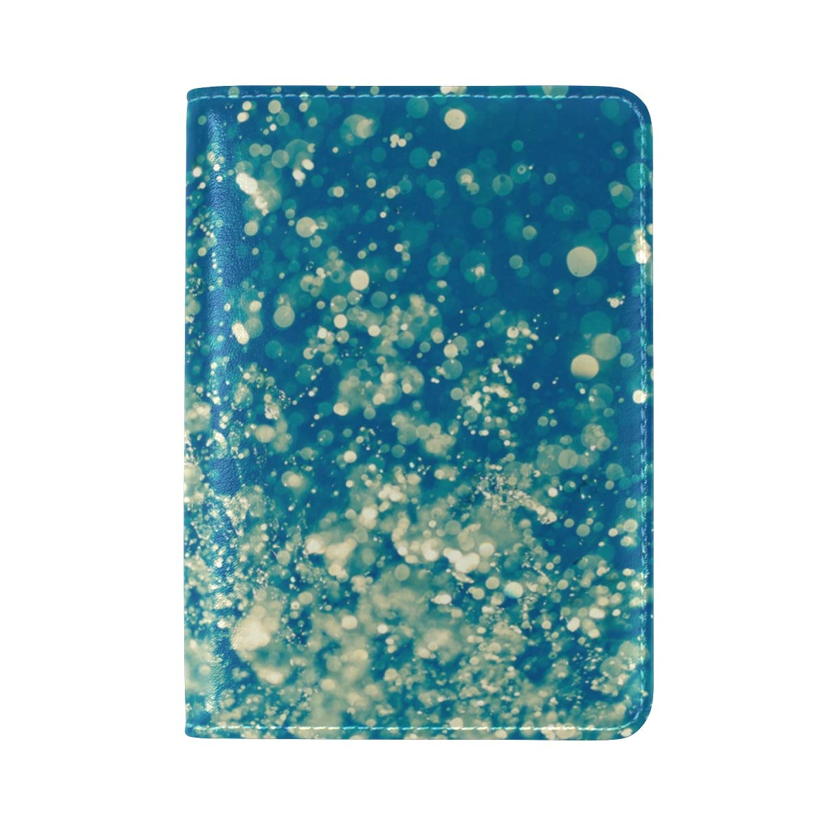 Water Drop Blue One Pocket Leather Passport Holder Cover Case Protector for Men Women Travel