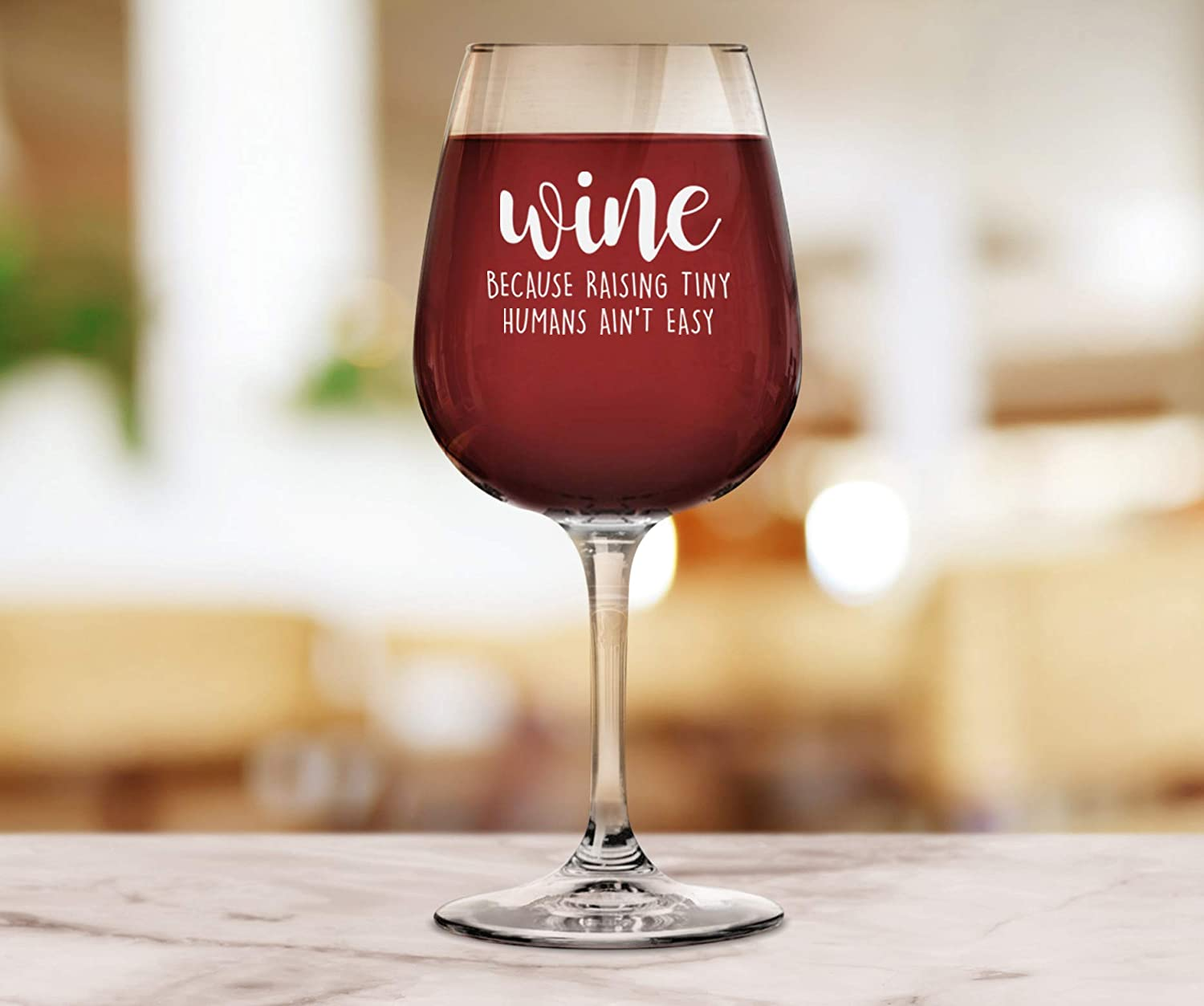 Unique Valentines Day Gag Gift Idea For Wife From Husband Best Gifts For Women Sister Fun Novelty Birthday Present For a New Mom Funny Mom Gifts Wine Glass: Raising Tiny Humans Daughter Her Wittsy Glassware and Gifts WBRTWG