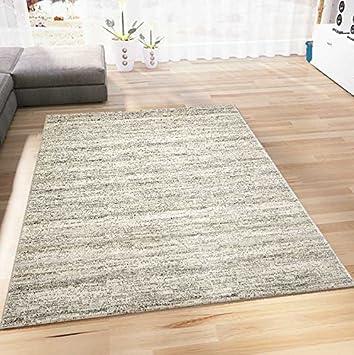 VIMODA Teppich Modern Kurzflor Wohnzimmer Teppiche Meliert in Beige ...