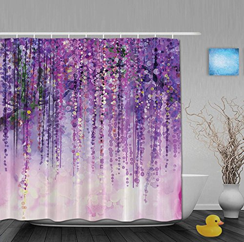 YUNBABA Art Printing Decor Collection Spring Landscape Purple Floral Bathroom Shower Curtains Fade Resistant Waterproof Polyester Fabric 80