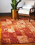 Unique Loom Autumn Collection Vintage Rustic Casual Warm Toned Terracotta Area Rug (5′ x 8′) For Sale