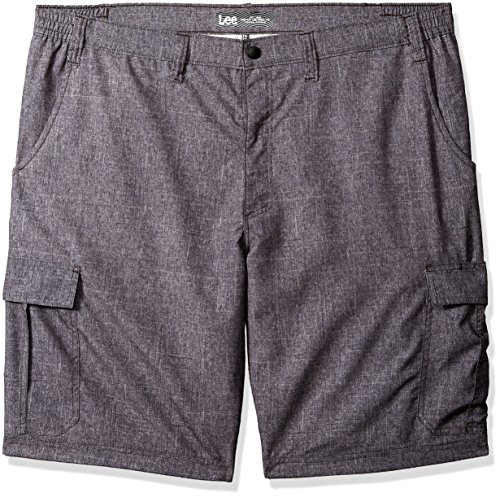 (Lee Men's Big and Tall Performance Cargo Short, Gray Heathered Plaid, 54)