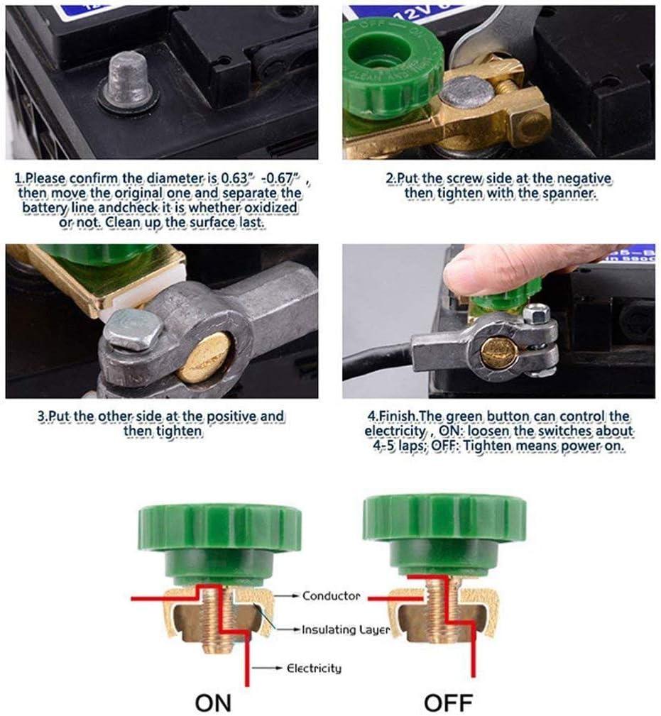 Newseego Voiture Batterie Interrupteur Isolateur Batterie Interrupteur Isolant Coupe-Batterie D/éconnexion Interrupteur Liaison Terminale Universel Voiture Bateau Camion Pi/èces avec Bouton Vert