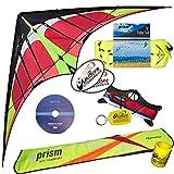 Prism Hypnotist Dual Line Framed Stunt Kite with 75' Tube Tail Bundle (3 Items) + Prism 75ft Tube Tail + WindBone Kiteboarding Lifestyle Stickers + Key Fob (Fire)