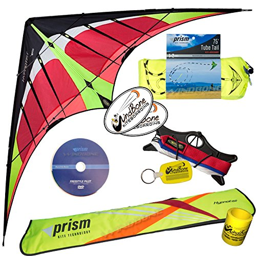 Prism Hypnotist Dual Line Framed Stunt Kite with 75' Tube Tail Bundle (3 Items) + Prism 75ft Tube Tail + WindBone Kiteboarding Lifestyle Stickers + Key Fob (Fire) by Prism, WindBone (Image #1)