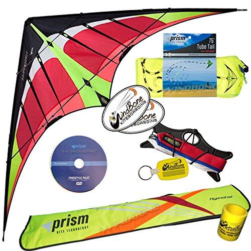 Prism Hypnotist Dual Line Framed Stunt Kite with 75' Tube Tail Bundle (3 Items) + Prism 75ft Tube Tail + WindBone Kiteboarding Lifestyle Stickers + Key Fob (Fire) by Prism, WindBone (Image #2)