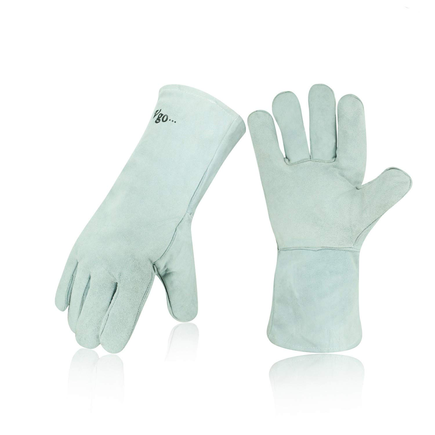 Vgo Cow Split Leather Welding Gloves For Oven/Grill/Fireplace/Stove/Pot Holder/Tig Welder/Mig/BBQ(1Pair, 13.5in, White, CB6501) Laborsing Safety Products Inc.