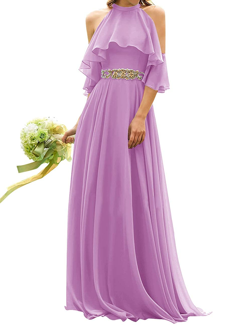 purplec Uther Long Bridesmaid Dress Cold Shoulder Beaded Ruffle Sleeves Wedding Party Dresses